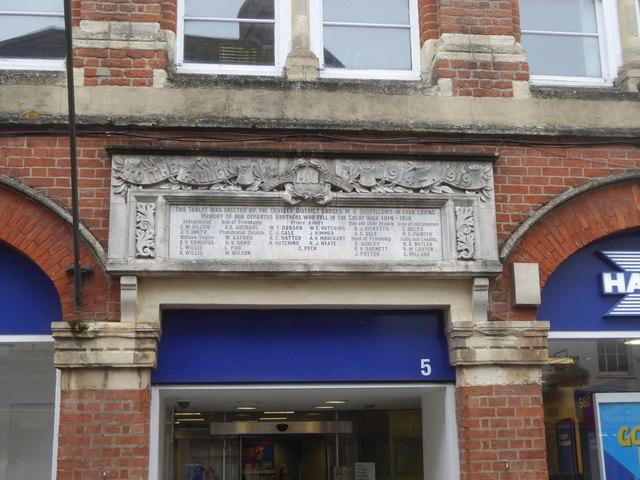 WW1 memorial to Devizes Oddfellows