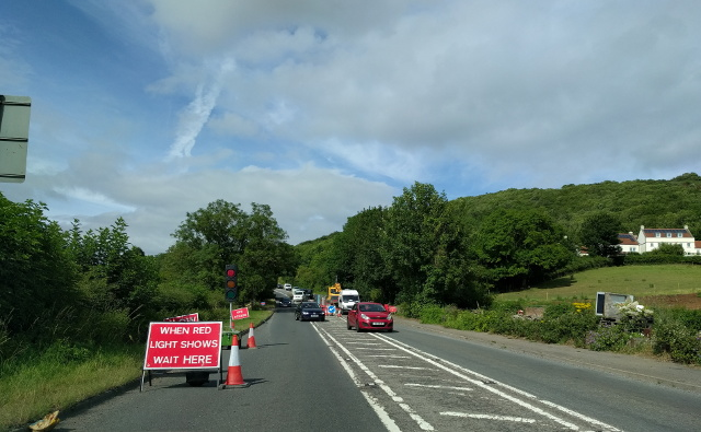 Road works traffic restrictions on the A38