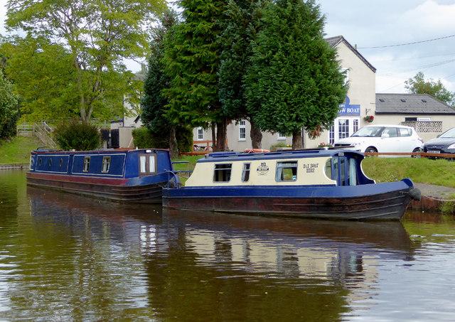 Moored narrowboats near Maestermyn Bridge, Shropshire