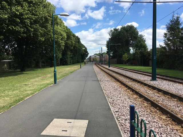 Tram track and path
