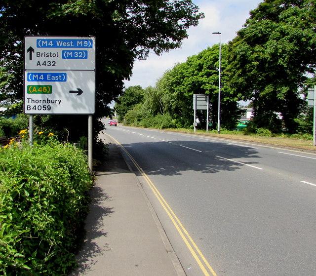 Badminton Road directions sign, Yate