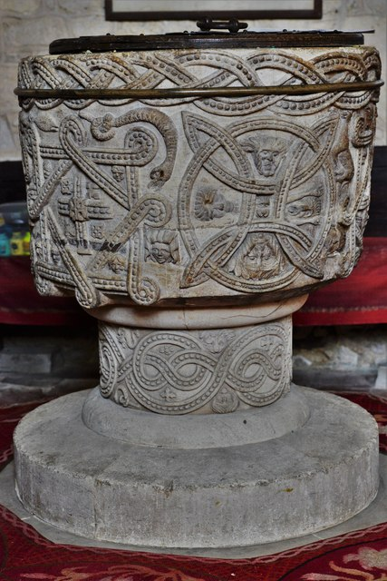 Stone, St. John the Baptist Church: The magnificent Norman font 1
