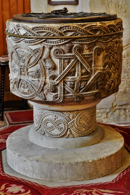Stone, St. John the Baptist Church: The magnificent Norman font 2
