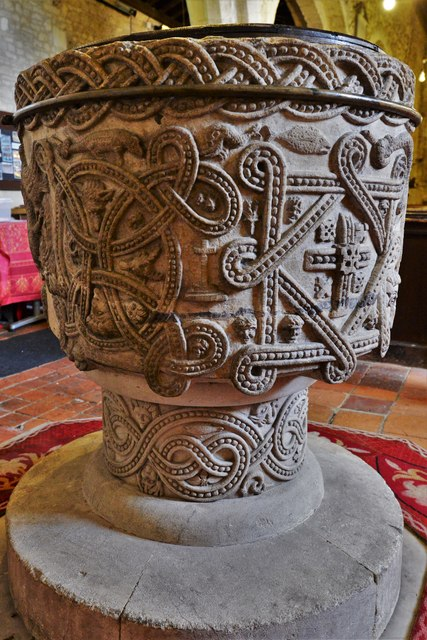 Stone, St. John the Baptist Church: The magnificent Norman font 4