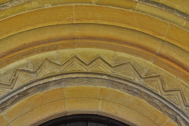 Stone, St. John the Baptist Church: South doorway arch detail
