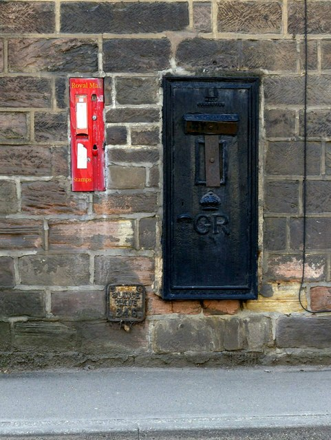 Disused postbox, former Post Office, Bridge Street, Ripley