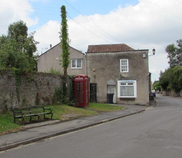 High Street bench and phonebox, Iron Acton