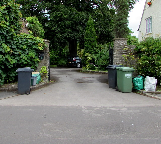 Wheelie bins at the entrance to Dean Lodge West, High Street, Iron Acton