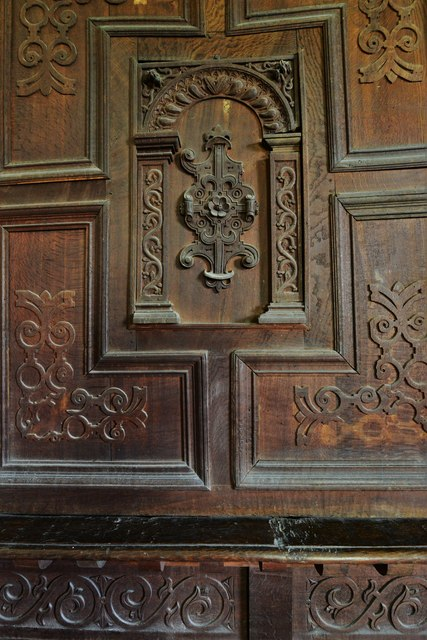 Chastleton House: The Great Chamber, woodwork detail
