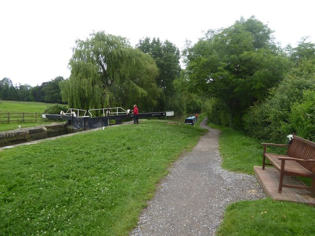 Lock and seat by Kennet and Avon canal
