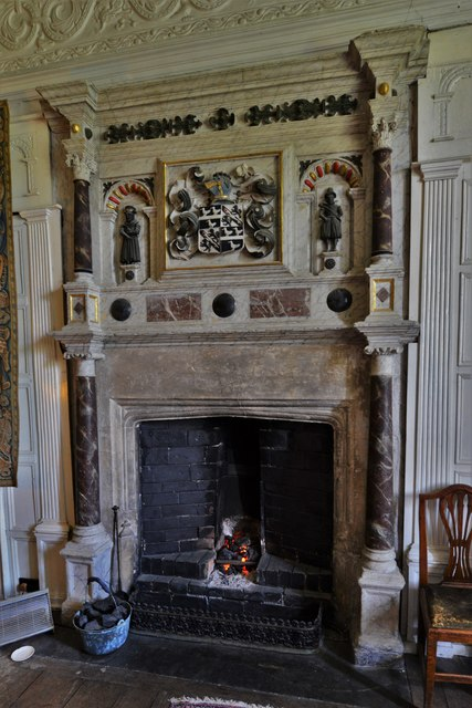 Chastleton House: The Sheldon Room fireplace with Sheldon family arms