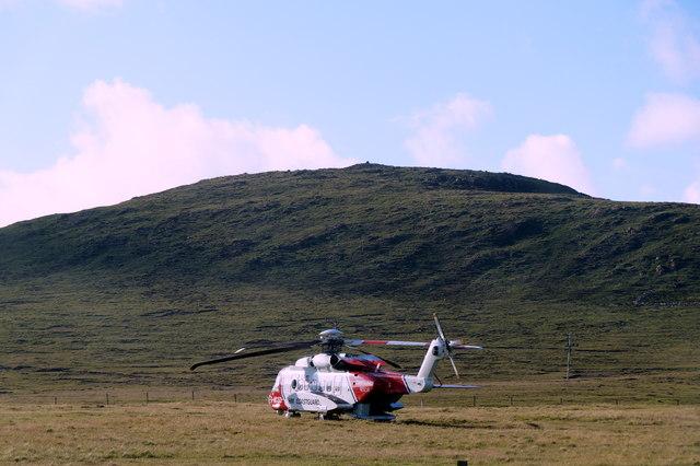 Coastguard Rescue helicopter Oscar Charlie at Baltasound