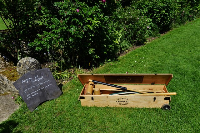Chastleton House and Garden: Croquet equipment waiting for a visitor to use