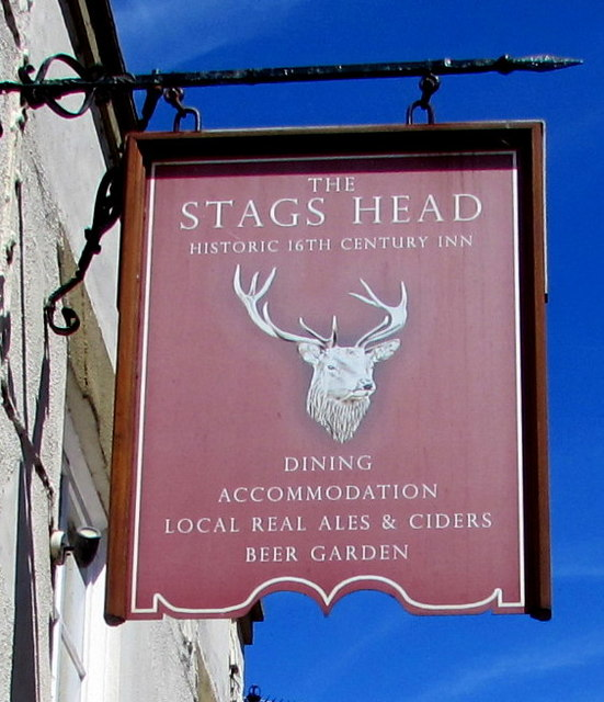 Stags Head name sign, West Street, Dunster