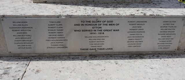 Etton War Memorial