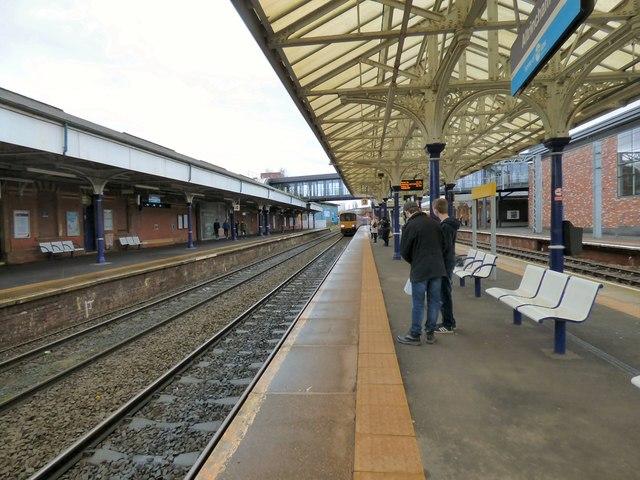 Train arriving at platform 3