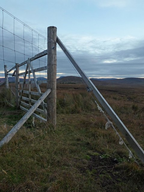 Gate in fence above Dalcharn, Sutherland