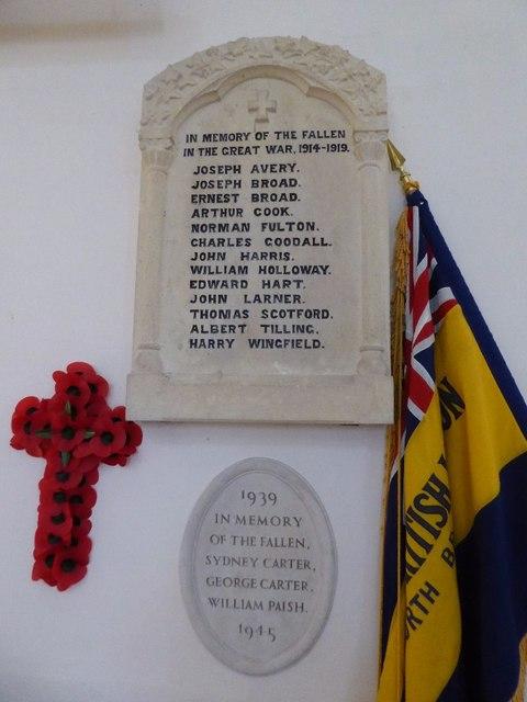 war memorial, Aldsworth church