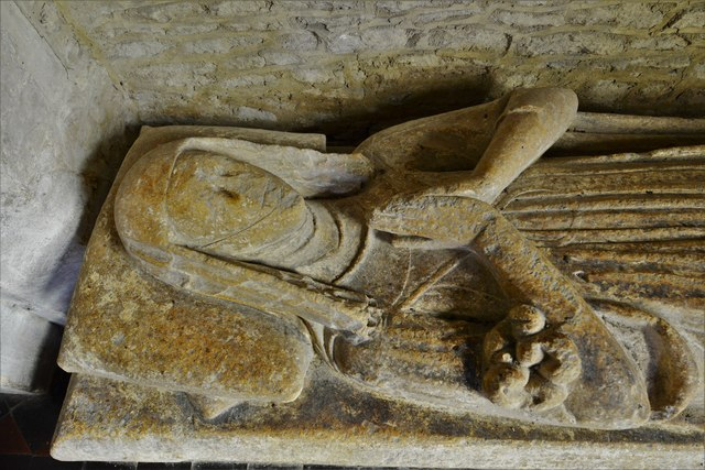 Asthall, St. Nicholas' Church: Cornwell Chantry, c14th canopied recess with weathered effigy of a lady 2