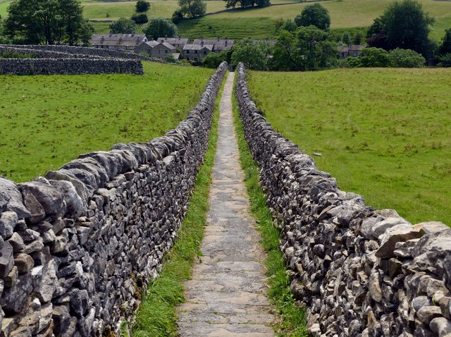 Walled footpath path to Linton Falls