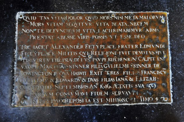 Swinbrook, St. Mary's Church: Alexander Fettiplace brass