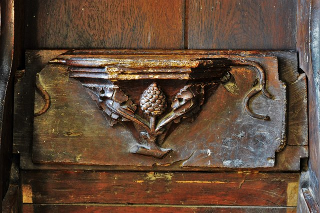 Swinbrook, St. Mary's Church: Medieval choir stall with misericord in the chancel 4