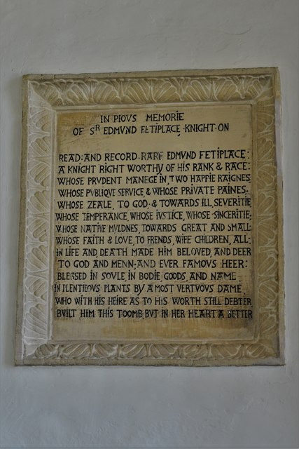Swinbrook, St. Mary's Church: Sir Edmund Fettiplace memorial plaque