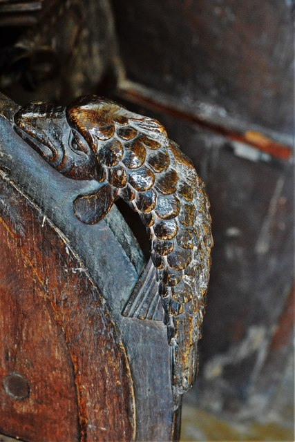 Swinbrook, St. Mary's Church: Carvings on the armrests of the medieval choir stalls 3