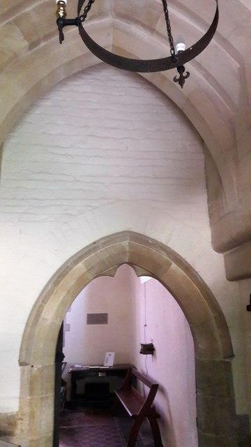 Original doorway to Little Tew church