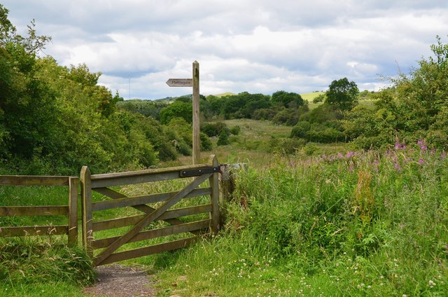 Footpath gate and signpost, Bowden Common