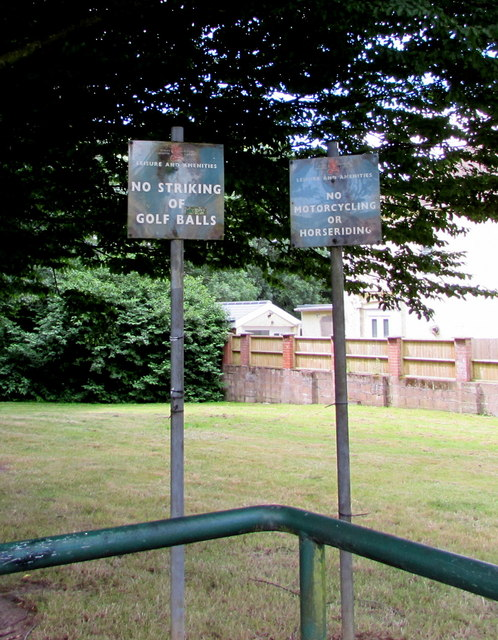 City of Cardiff Leisure and Amenities notices facing New Road, Rumney, Cardiff