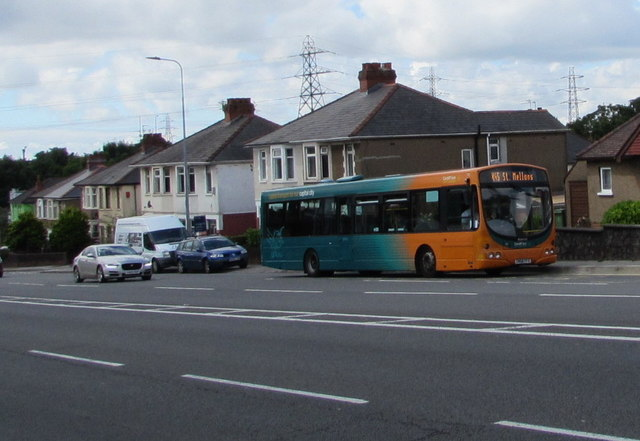 X45 bus ascends Rumney Hill, Cardiff