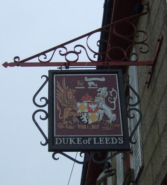 Sign for the Duke of Leeds public house, Leedstown