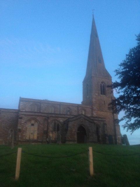 Brampton Ash church at dusk