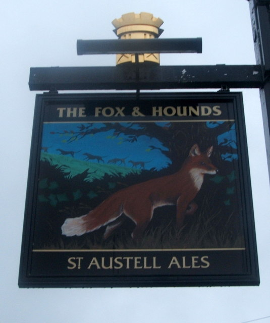 Sign for the Fox and Hounds, Comford