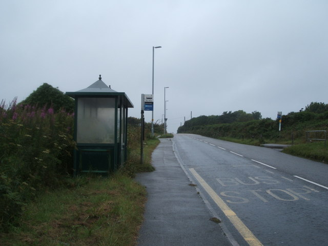 Bus stop and shelter on Lanner Hill
