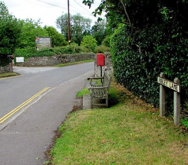 Nibley Lane bench and postbox, Nibley, South Gloucestershire