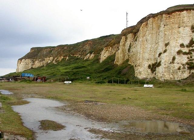 Chalk and tertiary sand cliffs at Burrow Head west of Newhaven