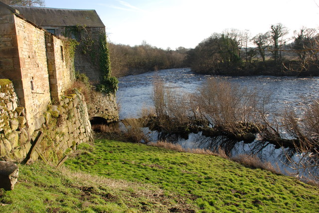 Disused mill race on River North Tyne near Wall Northumbria
