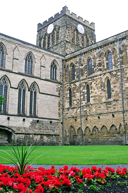 Hexham Abbey with begonias