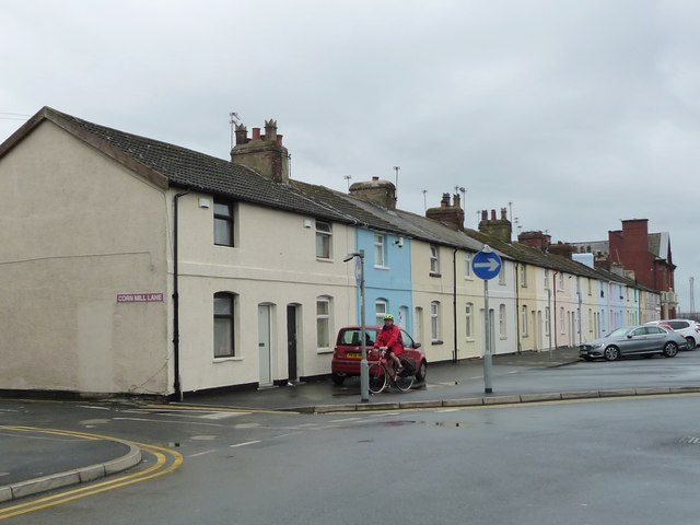 Colourwashed houses, Mount Street, Fleetwood