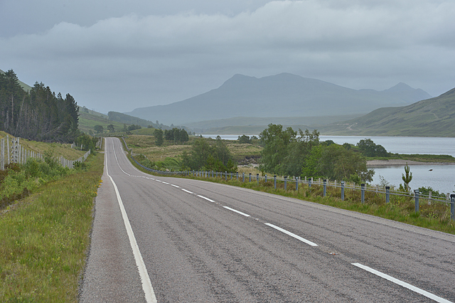 The A832 along Loch a' Chroisg
