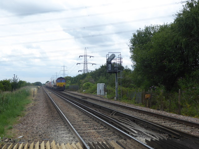 Freight train waiting to pass Hoo Junction