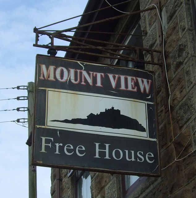 Sign for the Mount View public house, Longrock