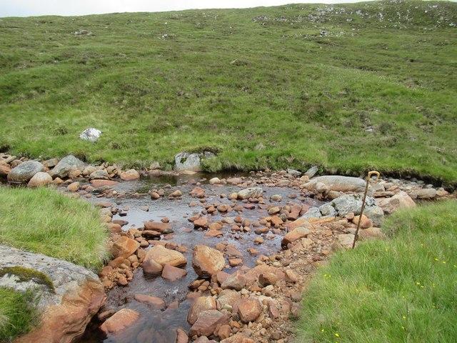 Confluence on Allt Luaidhe above upper Speyside