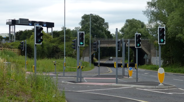 New traffic lights and junction along Leicester Lane
