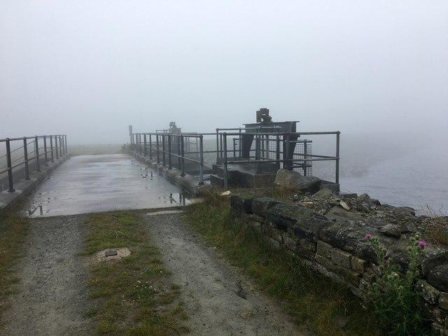 Sluice at White Holm Reservoir