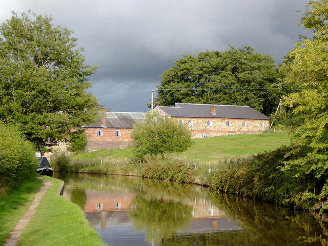 Canal and farm buildings near Ellesmere in Shropshire
