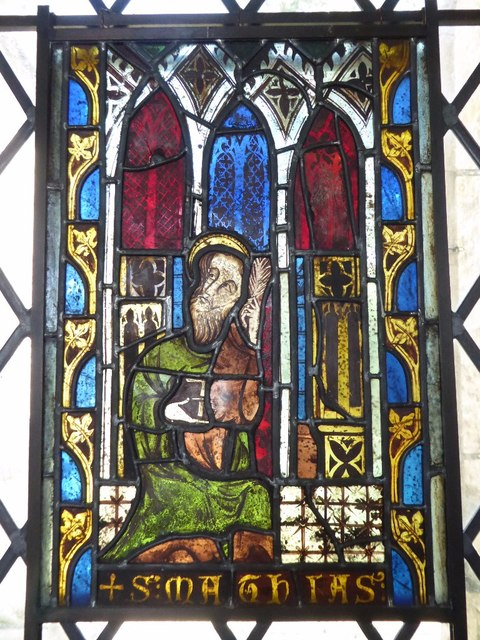 Stained glass window, Meysey Hampton church