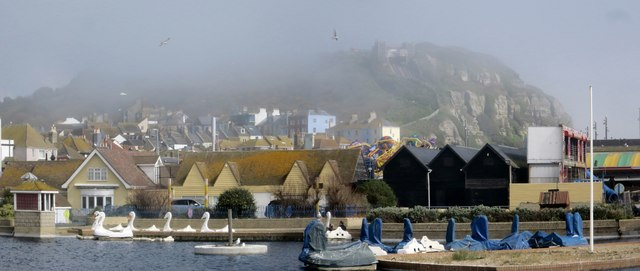 Fog over Hastings Old Town